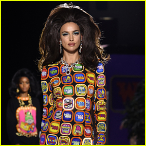 Irina Shayk Wears 'Let's Make a Deal' Inspired Dress at Moschino's Milan Show