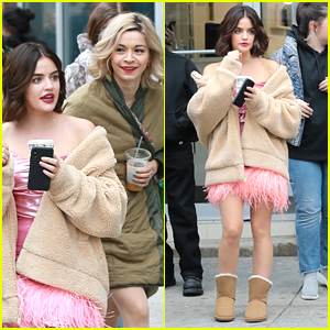 Lucy Hale & Julia Chan Try To Keep Warm on 'Katy Keene' Set in NYC