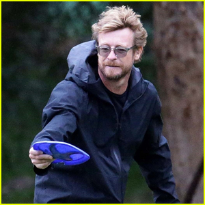 Simon Baker Plays Fetch with His Dog in Australia