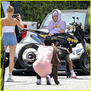 Hailey Bieber Takes Pics of Husband Justin Bieber's New Custom 'Drew' Motorbike