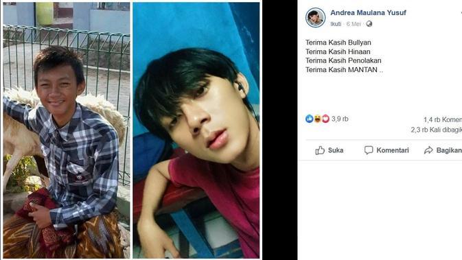 Transformasi penampilan cowok yang sering dibully. (Sumber: Facebook/Andrea Maulana Yusuf)