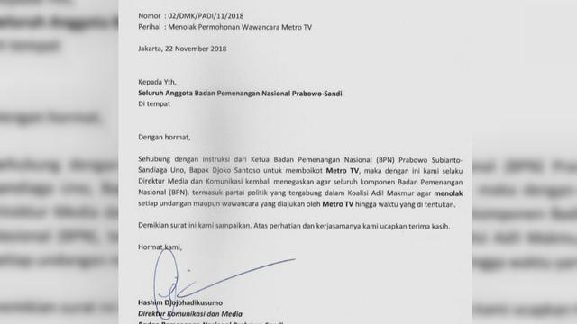 BPN Prabowo-Sandiaga boikot Metro TV (Istimewa)
