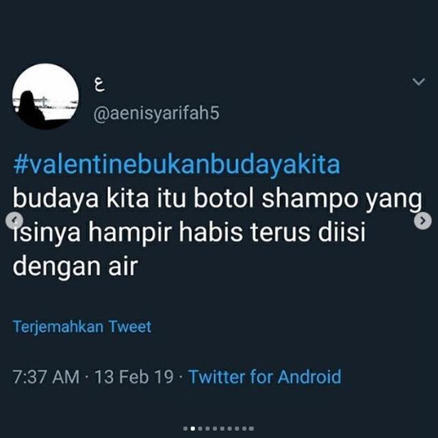 Valentine bukan budaya kita (foto: Twitter/@aenisyarifah5)