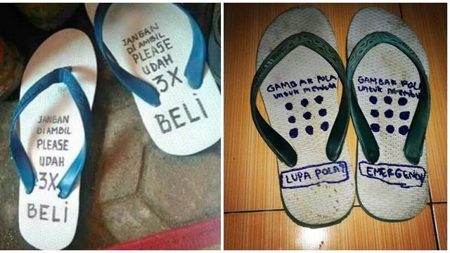 Tulisan Lucu di Sandal Jepit Ini Bikin Ketawa Cekikikan