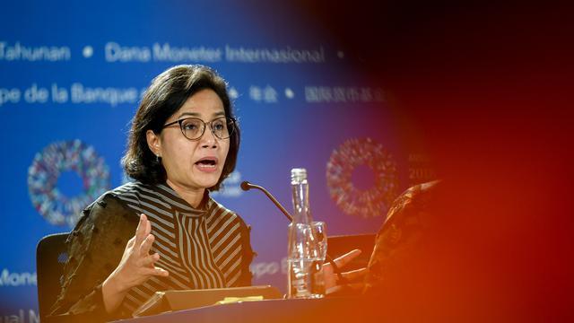 Sri Mulyani pada rangkaian Pertemuan Tahunan IMF-Bank Dunia 2018 di Bali
