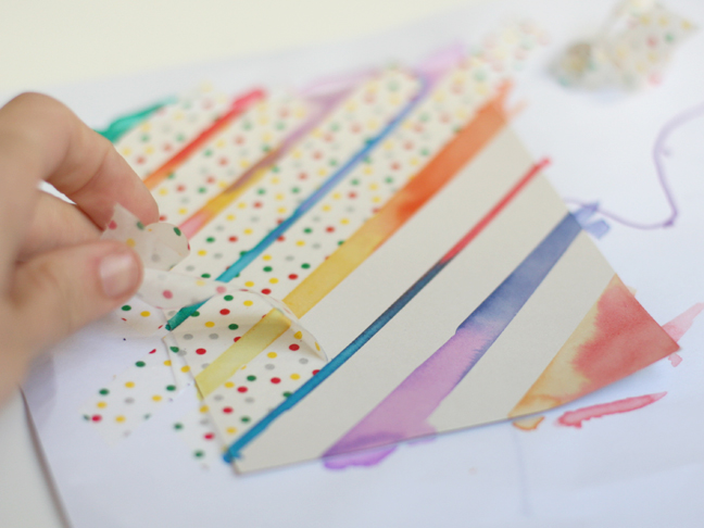 DIY Watercolor Washi Tape Cards