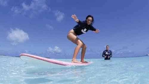 Surfing at the Four Seasons Kuda Huraa