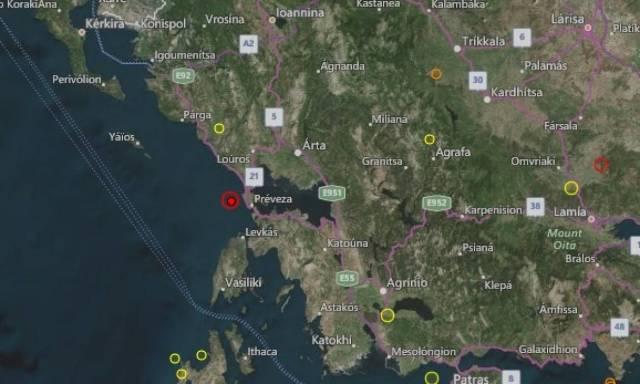 Ισχυρός σεισμός ΤΩΡΑ στην Πρέβεζα