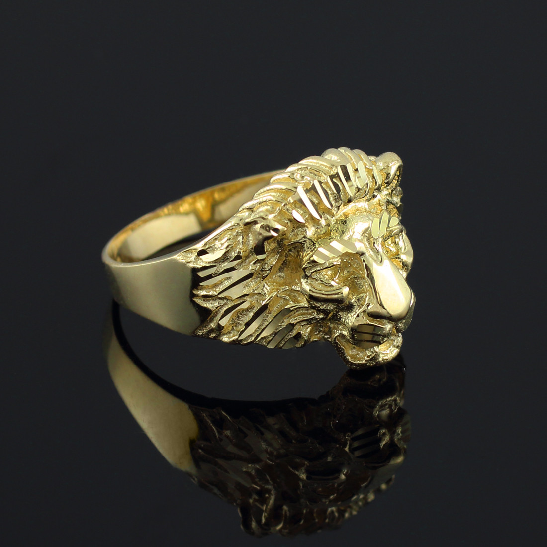 Mens Gold Lion Head Ring Gold Jewelry USA