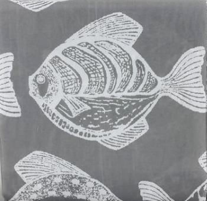 fabric home classics large white tropical fish print on gray shower curtain