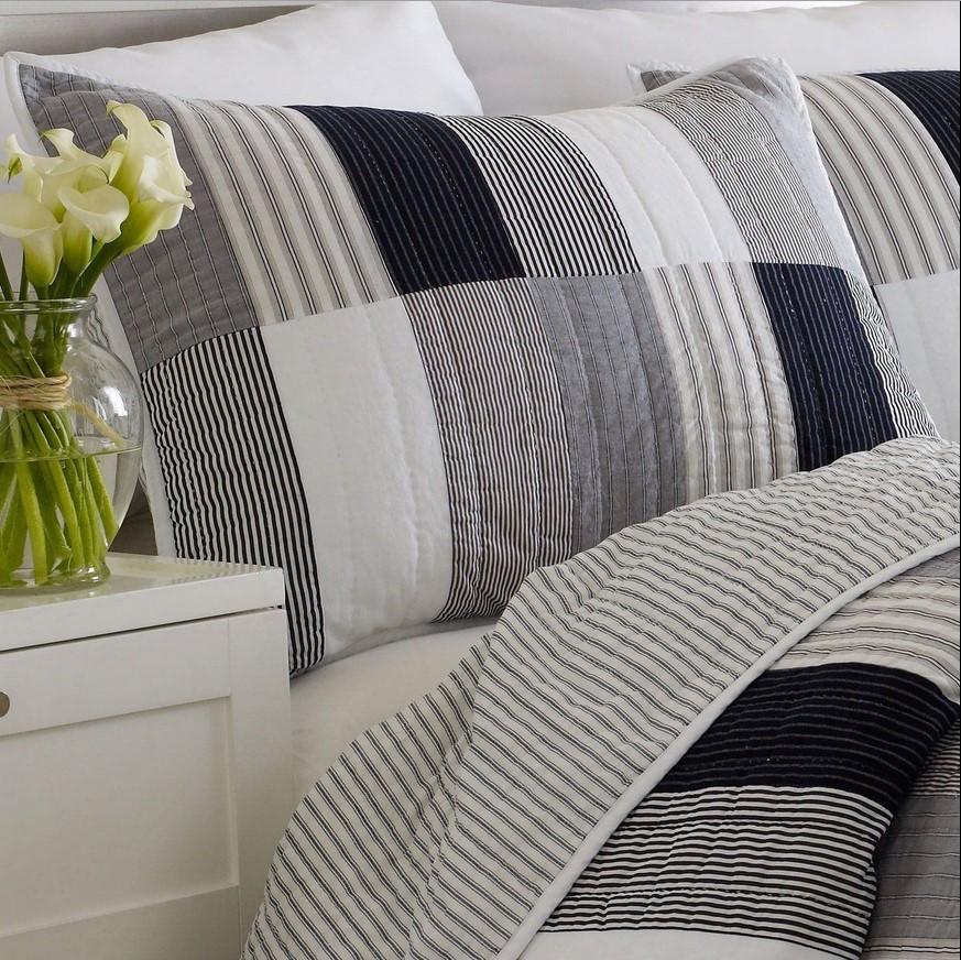 standard nautica brunswick navy gray white black quilted pillow sham