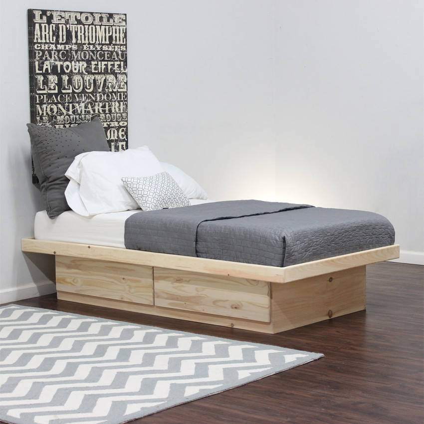 Twin Platform Bed With 2 Drawers On Tracks In Pine