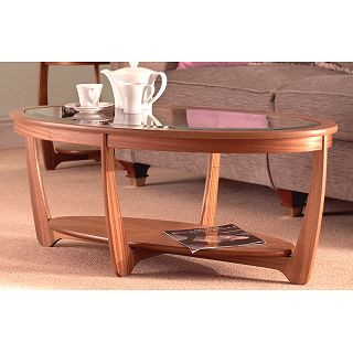 nathan furniture teak 5834 glass top oval coffee table