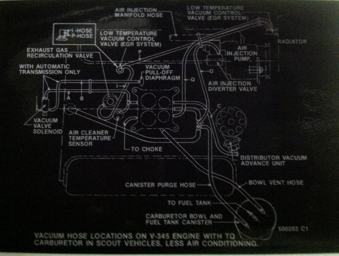 Engine partment vacuum hose diagram for Scout II, SSII