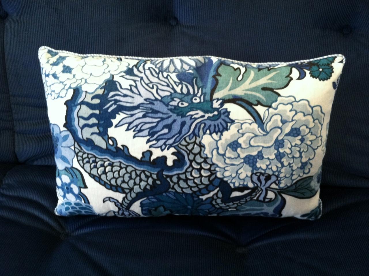 chiang mai dragon throw pillow fabric by schumacher