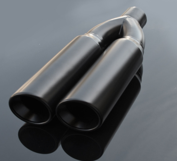 black exhaust muffler tip dual round double walled inner beveled sideway slanted 3 inlet id 8 25 x4 outer dimension od rtp 074b