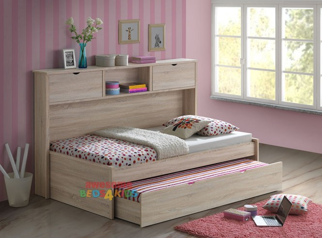 Pepito King Single Captains Trundle Bed With Bookcase Is A Very Modern And Practical Bedroom E
