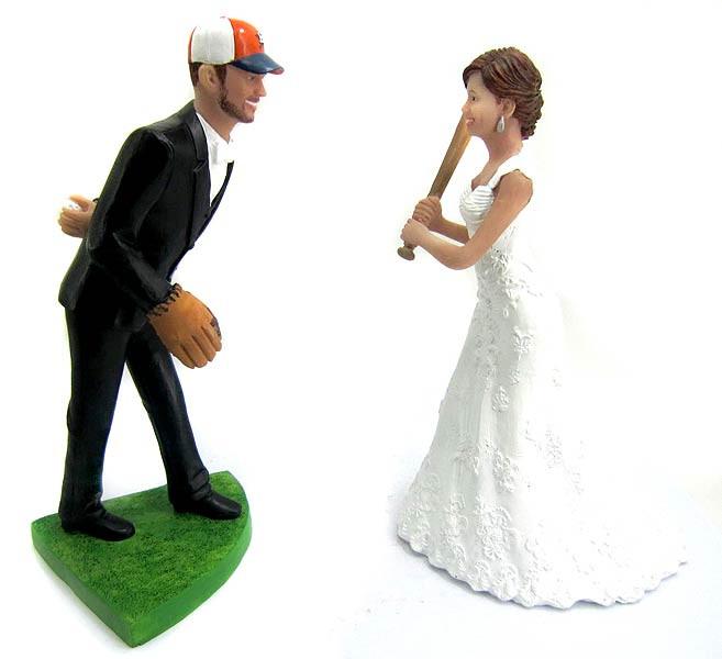 Pitching Baseball Wedding Cake Topper