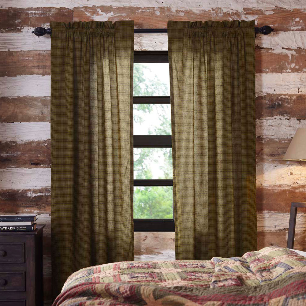 Tea Cabin Green Plaid Country Curtain Panel Set By VHC Brands