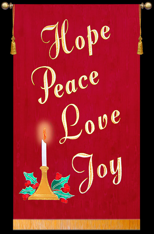 Hope Peace Love Joy With Candle Advent Banner Christian