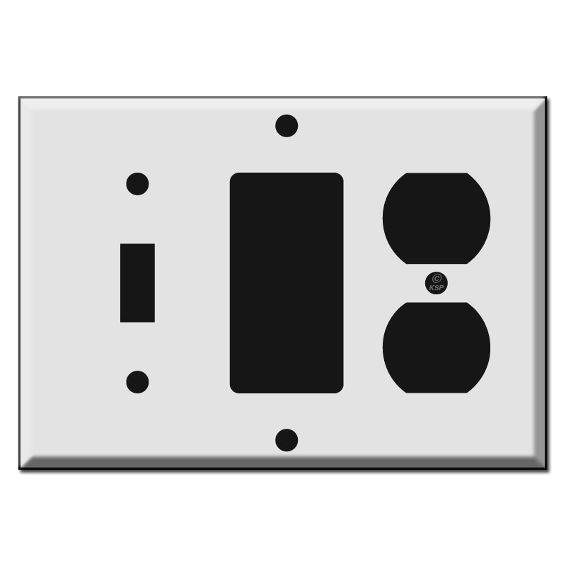 Switchplate with Duplex Outlet, Toggle, and Decora Rocker Combo