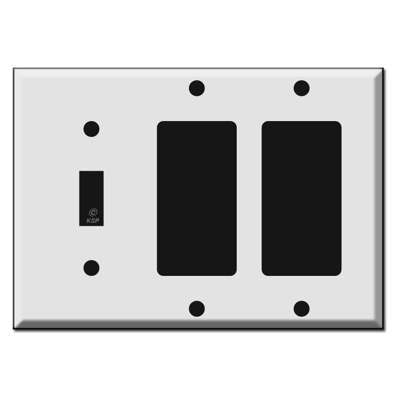 Combo Wallplate with Toggle and 2 Decora Rockers