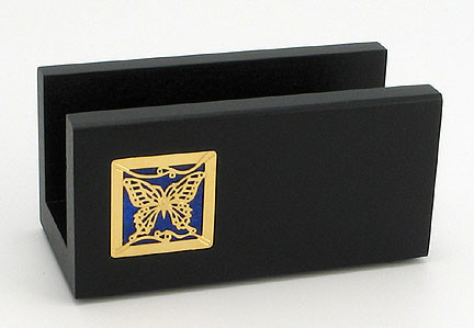 Black Wooden Desktop Business Card Holder