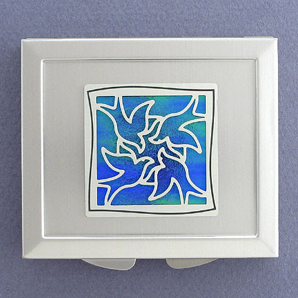 Silver and Blue Compact Mirror from Kyle Design