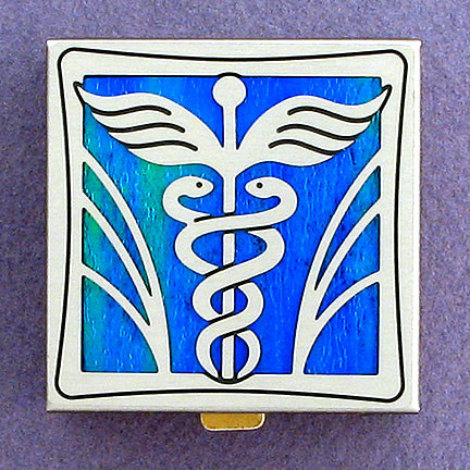 Caduceus Design Pill Box for Doctors