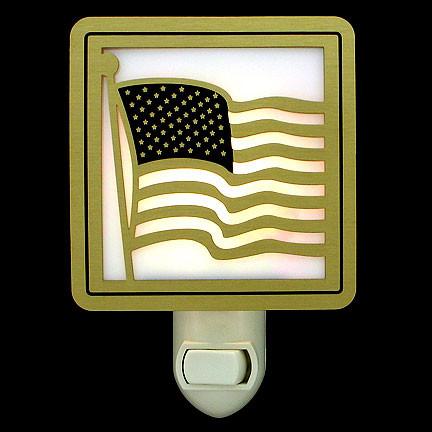Gold American Flag Nite Lite