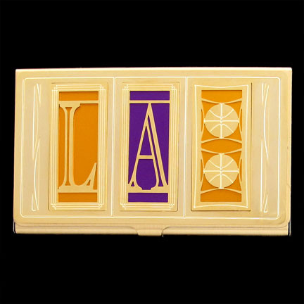 Business card holders color style kyle cool los angeles hometeam lakers buiness card holder case for avid b ball fans reheart Images