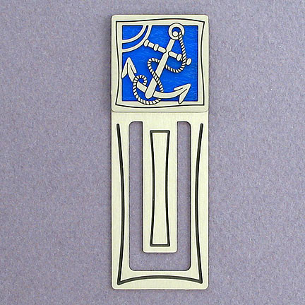 Silver and Blue Anchor Bookmark for Christians