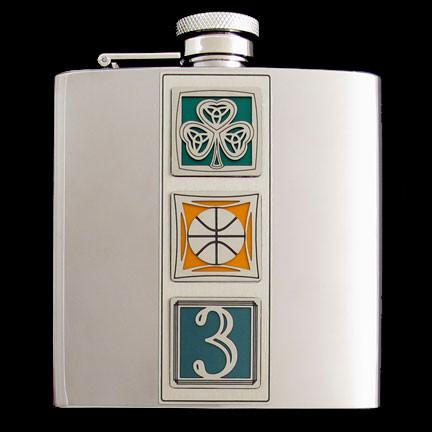 "6 Oz. Polish Boston ""Big Three"" Celtics Stainless Steel Flask for Avid B-Ball Fans."