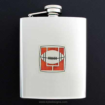 6 oz Football Flasks