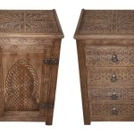Hand Carved Wooden Nightstand Cw Ns004