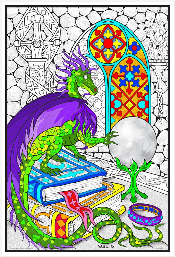 dragon crystal ball giant coloring poster
