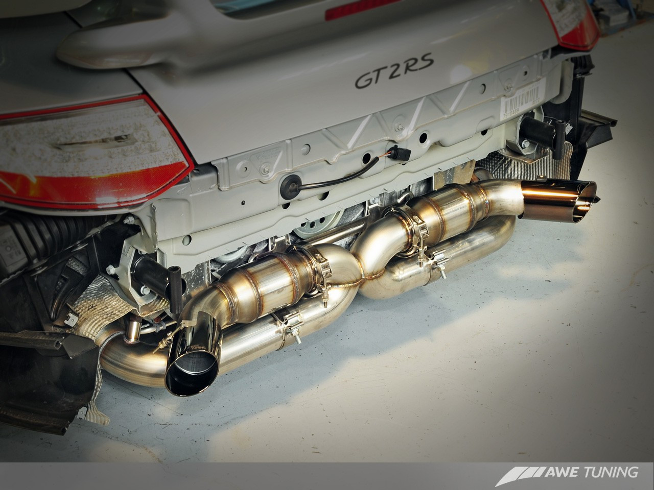 awe tuning performance exhaust diamond black tips for 2011 2012 porsche 911 gt2 rs