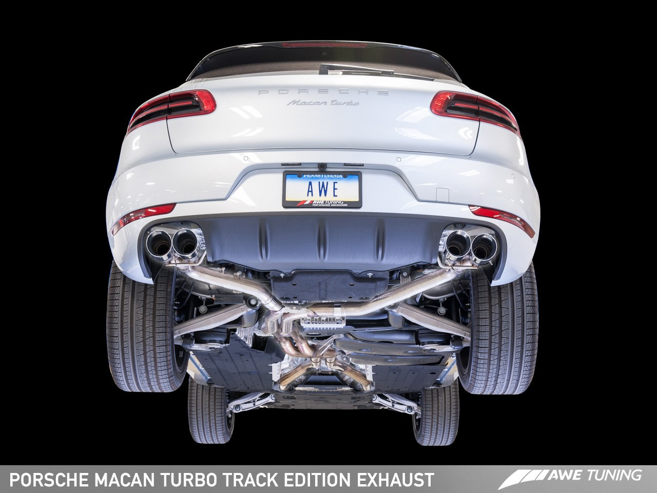 awe tuning track edition exhaust system diamond black 102mm tips for porsche macan