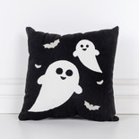 Halloween Home Decorations   Krumpet s Home Decor 12x12x4 canvas pillow  GHOST  bk wh gy