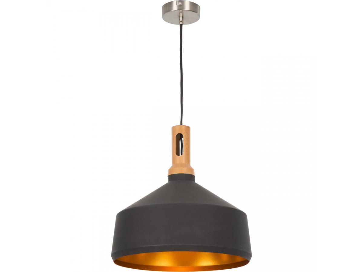 suspension bois et metal industriel noir