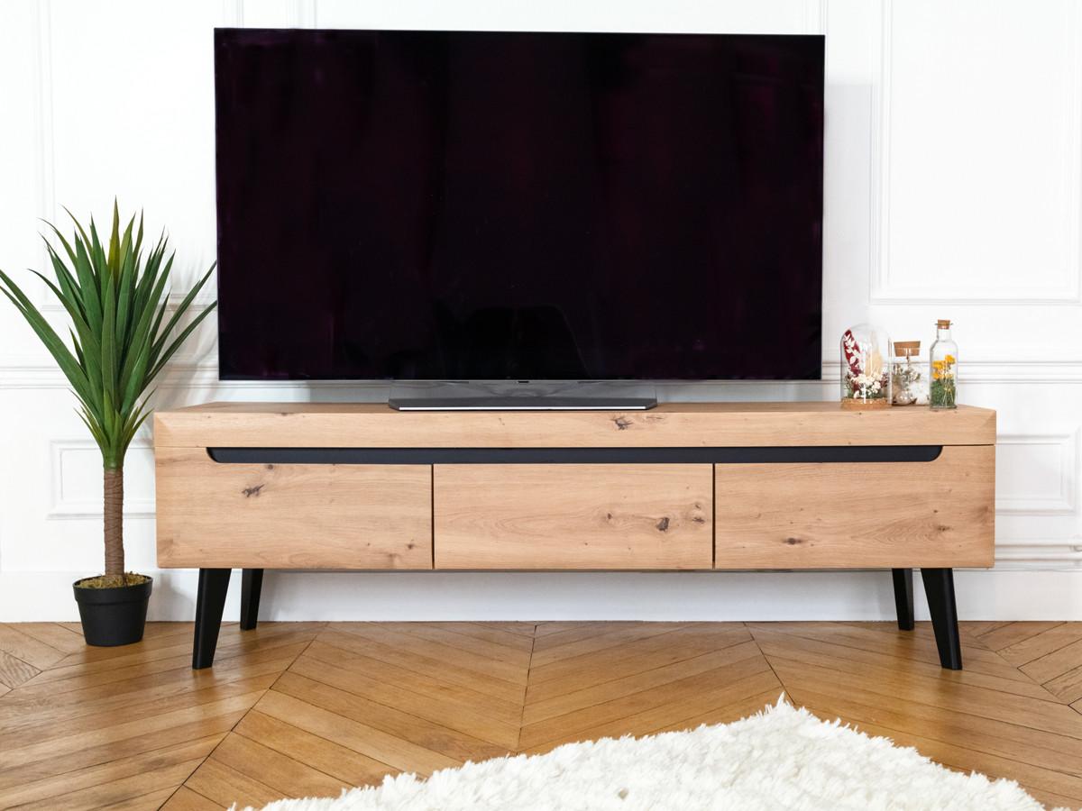 meuble tv nordi retro 160 chene et noir bobochic