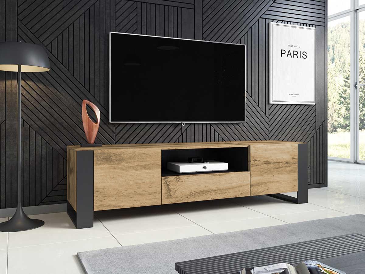 meuble tv 180 cm nunki bois et noir bobochic