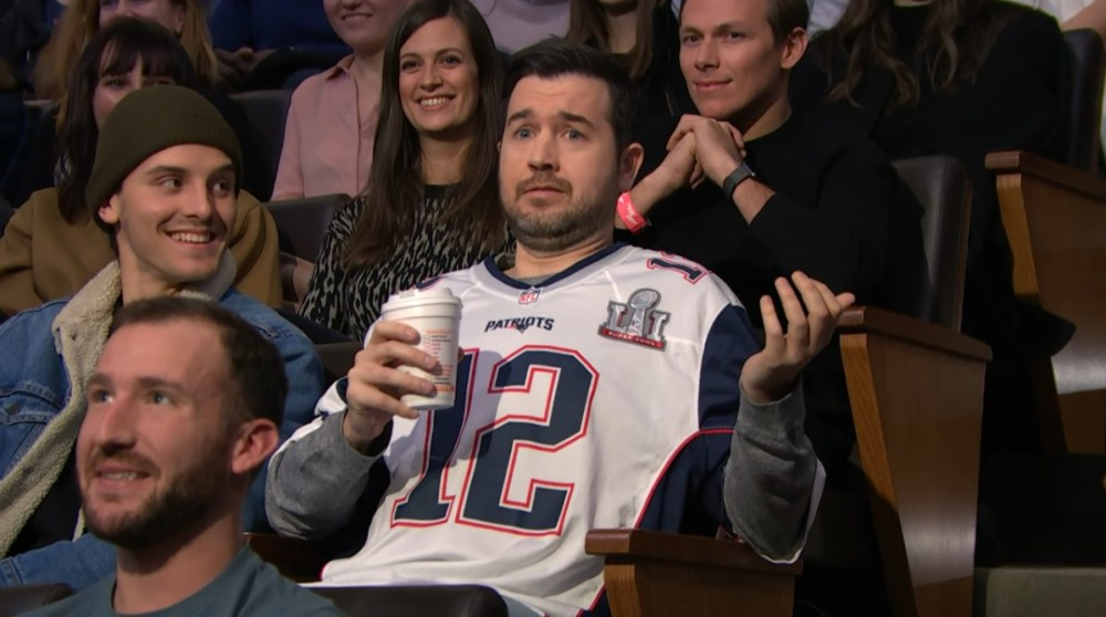 Die Hard Patriots' fan with TB12's missing Super Bowl Jersey on Late Night with Seth Meyers