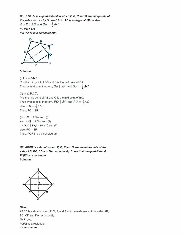 Quadrilaterals Worksheet For Grade 8