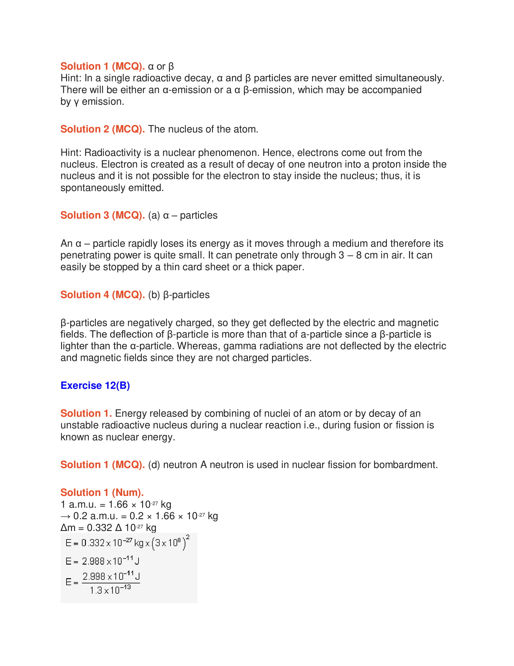 Icse Solutions Class 10 Physics Chapter 12 Radioactivity
