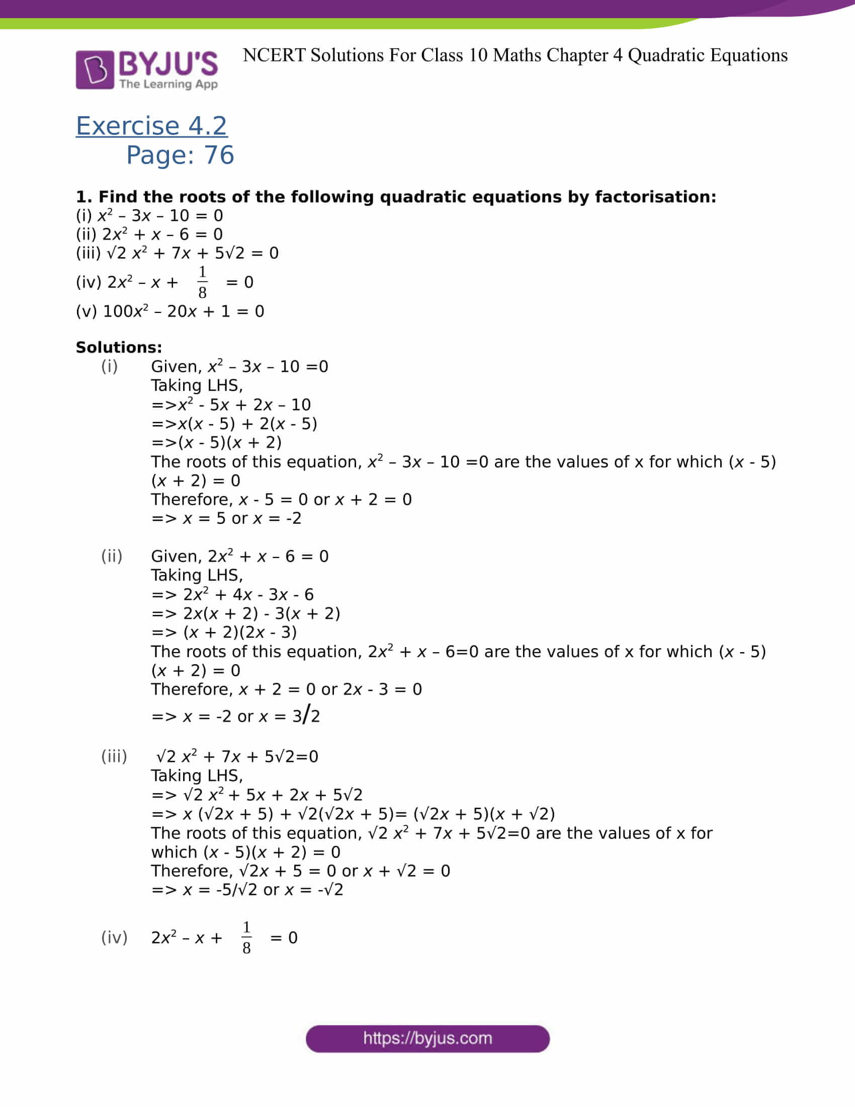 Ncert Solutions For Class 10 Maths Exercise 4 2 Chapter 4