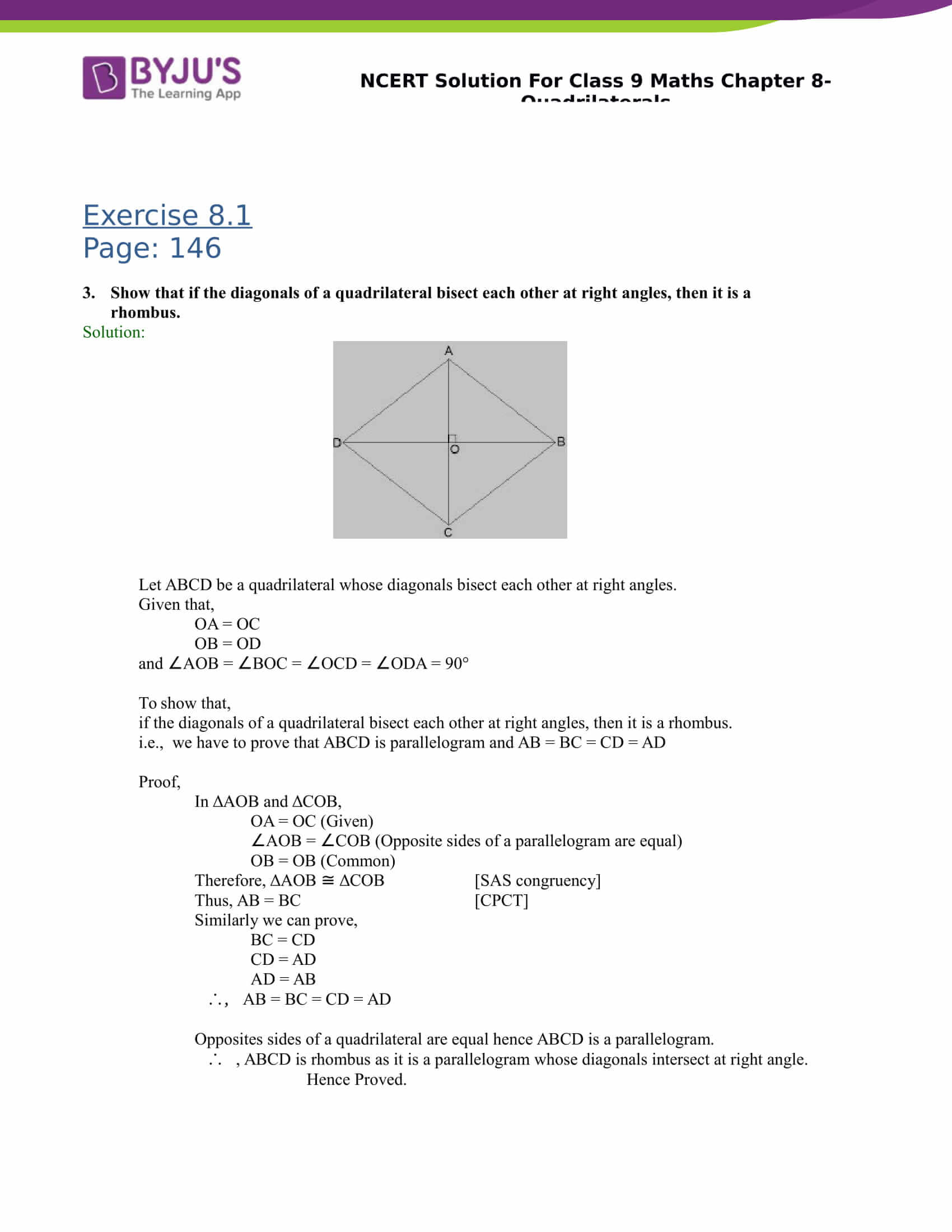 Quadrilaterals Worksheet Grade 9 Cbse