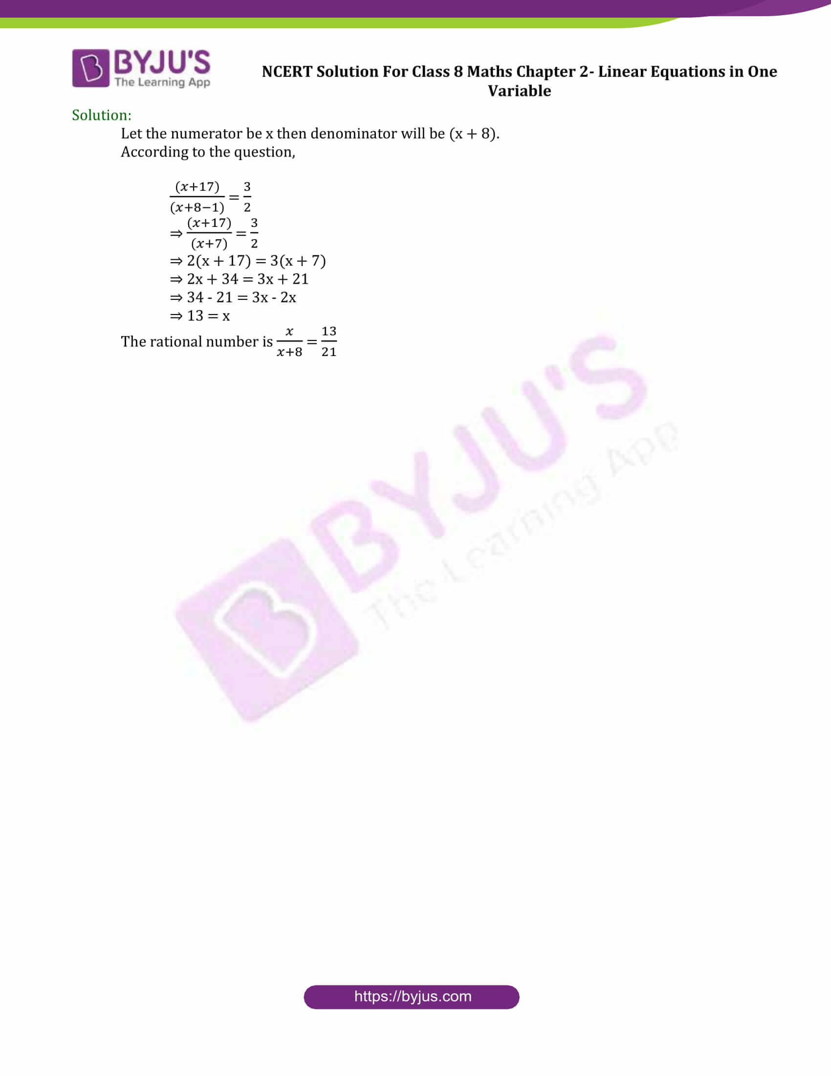 Download Of Ncert Solution Class 8 Maths Chapter 2