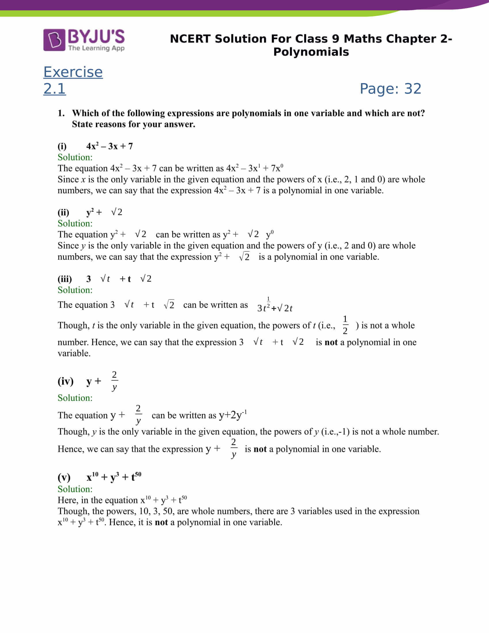 Ncert Solutions Class 9 Maths Chapter 2 Polynomial
