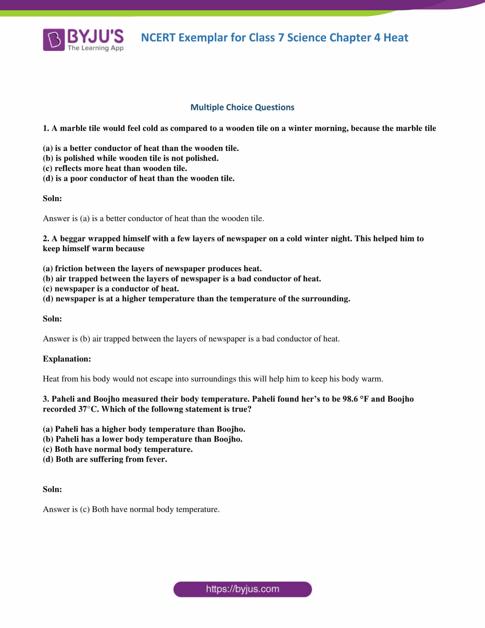 Ncert Exemplar Solutions For Class 7 Science Chapter 4